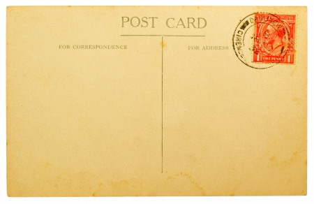BRITAIN - CIRCA 1932  Blank Antique Back of Postcard with Cancelled British One Penny Red Stamp Isolated on White Background, circa 1932