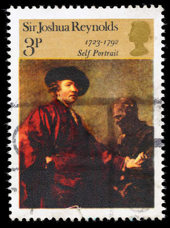 reynolds: UNITED KINGDOM - CIRCA 1973: A used postage stamp printed in Britain showing a Self Portrait of the Artist Sir Joshua Reynolds, circa 1973 Editorial