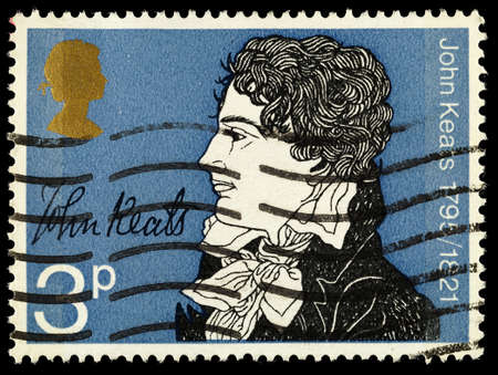 UNITED KINGDOM - CIRCA 1971: A used postage stamp printed in Britain showing the Poet John Keats, circa 1971