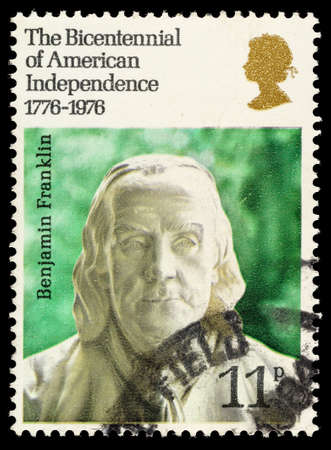 independance: UNITED KINGDOM - CIRCA 1976: A used postage stamp printed in Britain celebrating the Bicentenary of American Independance showing Bust of Benjamin Franklin, circa 1976 Editorial