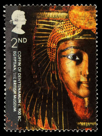 elizabeth: UNITED KINGDOM - CIRCA 2003: A used postage stamp printed in Britain celebrating the British Museum, showing the Egyptian Coffin of Denytenamum, circa 2003