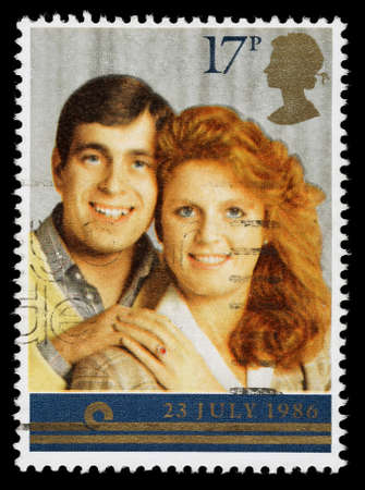 elizabeth: UNITED KINGDOM - CIRCA 1986: A used postage stamp printed in Britain celebrating the Royal Wedding of Prince Andrew and Sarah Ferguson, circa 1986