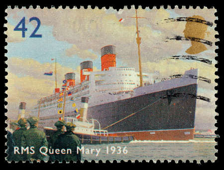 elizabeth: UNITED KINGDOM - CIRCA 2004: A used postage stamp printed in Britain showing the Ocean Liner RMS Queen Mary, circa 2004