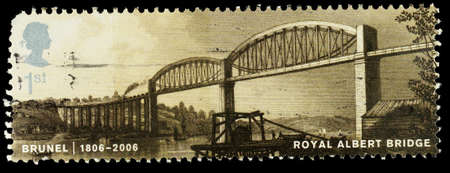 UNITED KINGDOM - CIRCA 2006: A used postage stamp printed in Britain celebrating Isambard Kingdom Brunel showing the Royal Albert Railway Bridge over the River Tamar, circa 2006