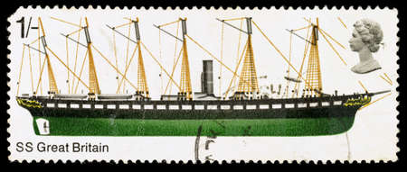 ss: UNITED KINGDOM - CIRCA 1969: A used postage stamp printed in Britain showing the Ship SS Great Britain, circa 1969