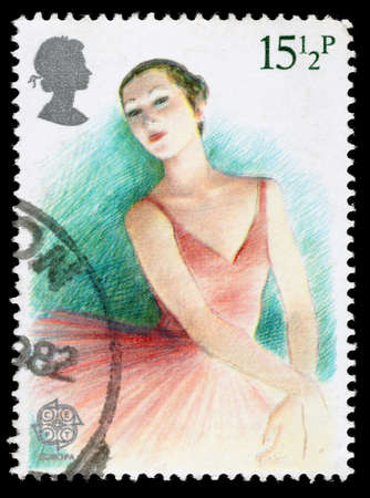 UNITED KINGDOM - CIRCA 1982: A used postage stamp printed in Britain celebrating British Theatre, showing a Ballerina, circa 1982