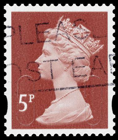 REGNO UNITO 2012: Un francobollo usato stampato in Gran Bretagna mostrando ritratto della Regina Elisabetta 2nd, circa 2012