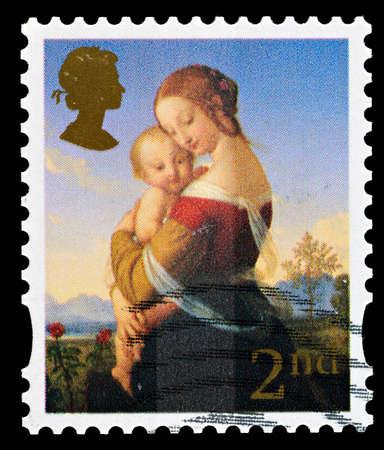 UNITED KINGDOM - CIRCA 2007: A British Used Christmas Postage Stamp showing Madonna and Child, circa 2007