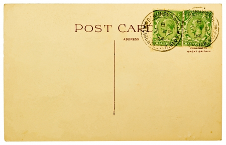 posted: BRITAIN - 1934: Blank Antique Back of Postcard with Two Cancelled British Stamps Ioslated on White Background, 1967