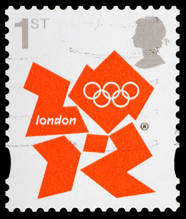 olympic symbol: UNITED KINGDOM - CIRCA 2012 : A British Used Postage Stamp showing the Symbol for London 2012 Olympic Games, circa 2012