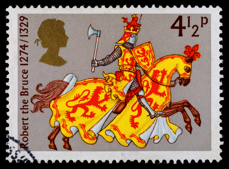 robert: UNITED KINGDOM - CIRCA 1975: A used postage stamp printed in Britain showing Robert the Bruce, the King of the Scots, circa 1975 Editorial