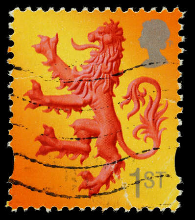 SCOTLAND 1992 to 2002: A used 1st Class postage stamp printed in Scotland, Britan showing the Lion of Scotland, printed and issued between 1992 and 2002
