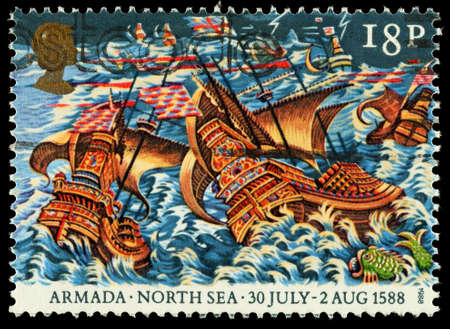 elizabeth: UNITED KINGDOM - CIRCA 1988: A used postage stamp printed in Britain celebrating the 400th Anniversary of the Spanish Armada showing the Armada in a North Sea Storm, circa 1988