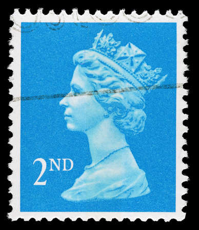 elizabeth: UNITED KINGDOM 1989 to 1992: A used Second Class postage stamp printed in Britain showing Portrait of Queen Elizabeth 2nd, printed and issued between 1989 and 1992
