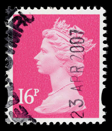 elizabeth: UNITED KINGDOM 1993 to 2007: A used postage stamp printed in Britain showing Portrait of Queen Elizabeth 2nd, printed and issued between 1993 and 2007