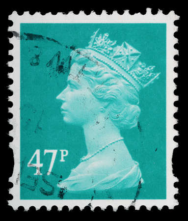 elizabeth: UNITED KINGDOM - CIRCA 1993 to 2007: An English Used Postage Stamp showing Portrait of Queen Elizabeth 2nd, circa 1993 to 2007