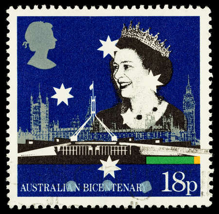 franked: UNITED KINGDOM - CIRCA 1988  Used postage stamp printed in Britain celebrating the Bicentenary of Australian Settlement showing Australian and British Parliament Buildings, circa 1988