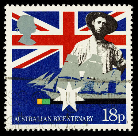 settler: UNITED KINGDOM - CIRCA 1988  Used postage stamp printed in Britain celebrating the Bicentenary of Australian Settlement showing Early Settler and Sailing Clipper, circa 1988 Editorial