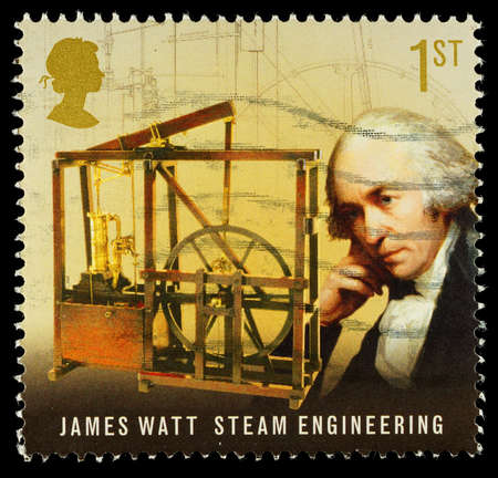 pioneers: UNITED KINGDOM - CIRCA 2009  Used postage stamp printed in Britain celebrating Pioneers of the Industrial Revolution showing James Watt and Steam Engineering, circa 2009