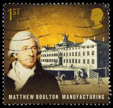 franked: UNITED KINGDOM - CIRCA 2009  Used postage stamp printed in Britain celebrating Pioneers of the Industrial Revolution showing Matthew Boulton and Manufacturing, circa 2009 Editorial