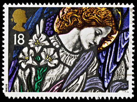 gabriel: UNITED KINGDOM - CIRCA 2007: A British Used Postage Stamp showing the Angel Gabriel Stained Glass Window, circa 2007