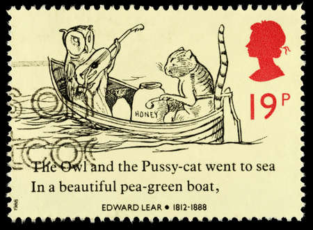 franked: UNITED KINGDOM - CIRCA 1988: A used postage stamp printed in Britain celebrating Edward Lear showing the Owl and the Pussycat, circa 1988