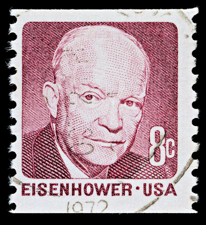 eisenhower: UNITED STATES - CIRCA 1971: A Used USA Postage Stamp showing President Dwight Eisenhower, circa 1971