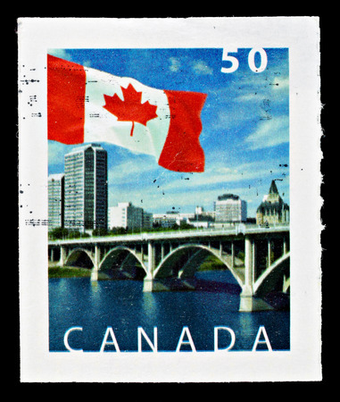 CANADA - CIRCA 2005: Used Canadian Flag Postage Stamp showing Broadway Bridge over South Saskatchewan River, circa 2005