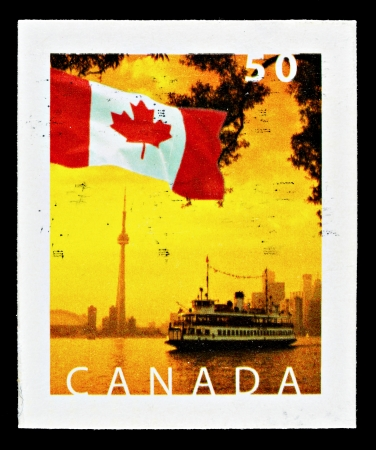 CANADA - CIRCA 2005: Used Canadian Flag Postage Stamp showing Toronto Island Ferry and Skyline, circa 2005
