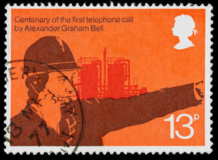 franked: UNITED KINGDOM - CIRCA 1976: A used postage stamp printed in Britain celebrating the Centenary of the First Telephone Call by Alexander Graham Bell Editorial
