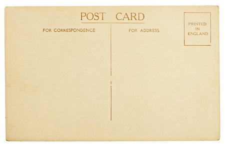 postcard back: Blank Vintage Postcard Isolated on White Background Stock Photo