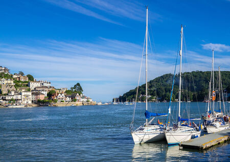 Sailing Yachts Moored on the Dart Estuary at Dartmouth, England photo