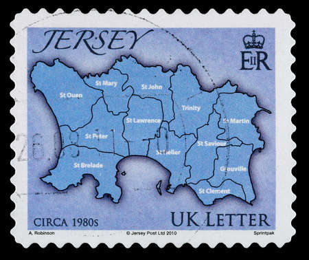 JERSEY, CHANNEL ISLANDS - CIRCA 2010: A Used Postage Stamp showing a Map of the Isalnd of Jersey in the Channel Islands