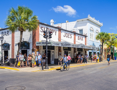 KEY WEST, FLORIDA USA - 8 MAY 2014 - The famous Sloppy Joes Bar on Duval Street. Sloppy Joes is a popular Key West bar and attraction associated with the famous author Ernest Hemingway
