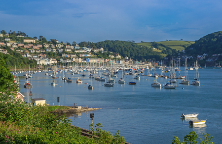 devon: Yachts at Kingswear on the Dart Estuary, Devon, United Kingdom