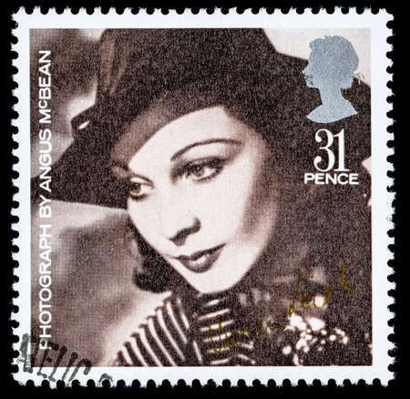 franked: UNITED KINGDOM - CIRCA 1985: A used postage stamp printed in Britain celebrating British Film Year showing Vivien Leigh