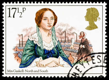 se�ora: UNITED KINGDOM - CIRCA 1980: A used postage stamp printed in Britain celebrating Famous Authoresses, showing Mrs Gaskell and North and South
