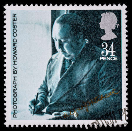 used stamp: UNITED KINGDOM - CIRCA 1985: A used postage stamp printed in Britain celebrating British Film Year showing Alfred Hitchcock Editorial