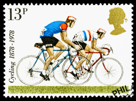 UNITED KINGDOM - CIRCA 1978: A British Used Postage Stamp celebrating cycling, showing Road Racing Bicycles
