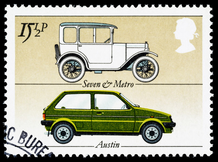 communication industry: UNITED KINGDOM - CIRCA 1982: A British Used Postage Stamp celebrating the British Motor Industry, showing an Austin Seven and Austin Mini Metro Car
