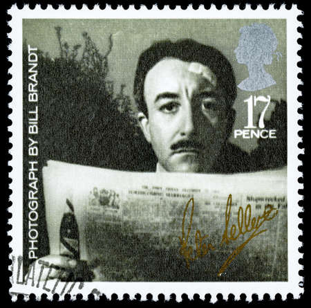 elizabeth: UNITED KINGDOM - CIRCA 1985: A used postage stamp printed in Britain celebrating British Film Year showing Peter Sellers Editorial