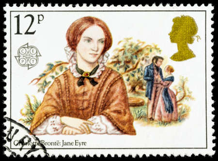 jane: UNITED KINGDOM - CIRCA 1980: A used postage stamp printed in Britain celebrating Famous Authoresses, showing Charlotte Bronte and Jane Eyre