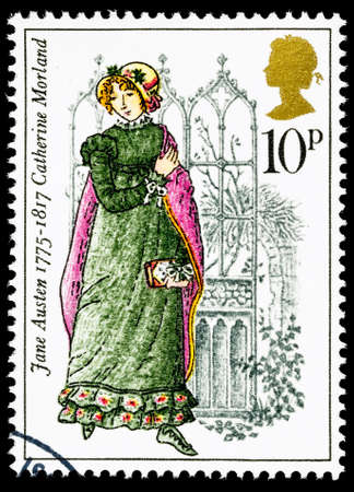 UNITED KINGDOM - CIRCA 1975: used postage stamp printed in Britain commemorating the Bicentenary of the Writer Jane Austen Editorial