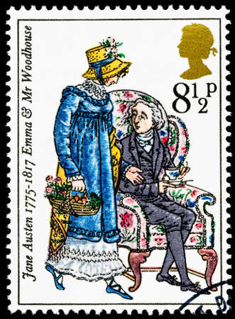 commemorating: UNITED KINGDOM - CIRCA 1975: used postage stamp printed in Britain commemorating the Bicentenary of the Writer Jane Austen Editorial