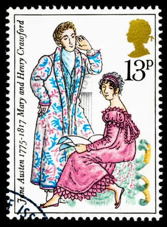 jane: UNITED KINGDOM - CIRCA 1975: used postage stamp printed in Britain commemorating the Bicentenary of the Writer Jane Austen Editorial
