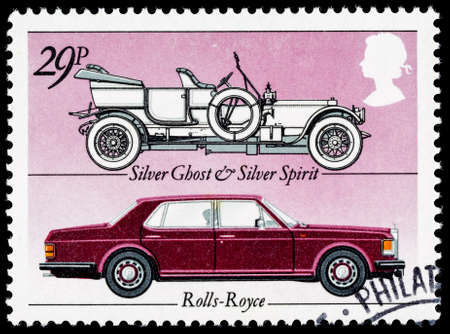 motor cars: UNITED KINGDOM - CIRCA 1982: A British Used Postage Stamp celebrating the British Motor Industry, showing Rolls Royce Silver Host and Silver Spirit Cars