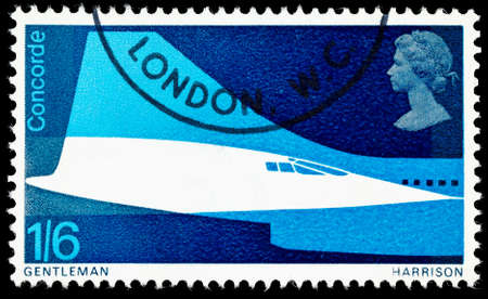 used stamp: UNITED KINGDOM - CIRCA 1969: A used postage stamp printed in Britain celebrating the First Flight of Concorde, circa 1969