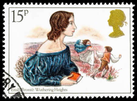 used stamp: UNITED KINGDOM - CIRCA 1980: A used postage stamp printed in Britain celebrating Famous Authoresses, showing Emily Bronte and Wuthering Heights Editorial