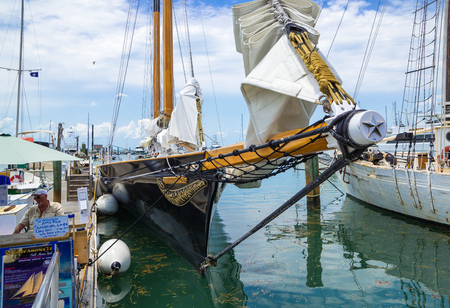modelled: KEY WEST, FLORIDA USA - 2 MAY 2015 - The Sailing Schooner America 2. America 2 is Modelled on the Winner of the First Americas Cup Yacht Race in 1851 and is used for Sightseeing Cruises around Key West Editorial