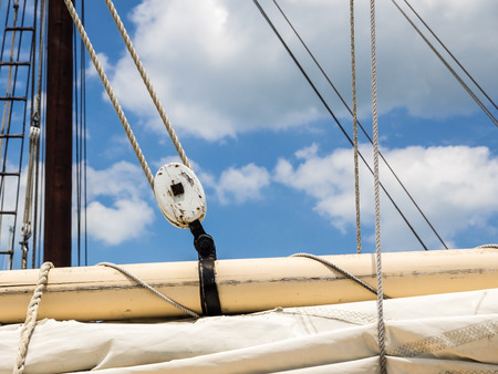 Sailboat Rigging Showing Boom, Sail and Block and Tackle Reklamní fotografie - 50922136
